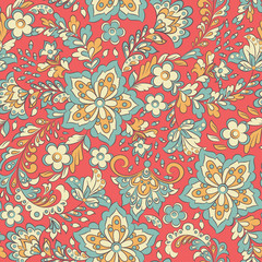 Garden Poster Moroccan Tiles Floral seamless pattern. Vector background
