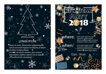 Happy New Year background. Invitation card. Vector illustration.