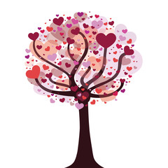 Foto auf AluDibond Vögel, Bienen Love tree with hearts vector illustration