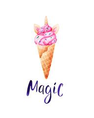 Watercolor unicorn ice cream card. Unicorns are real. For design, print or background