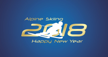 Alpine Skiing 2018 Happy New Year gold logo icon blue background