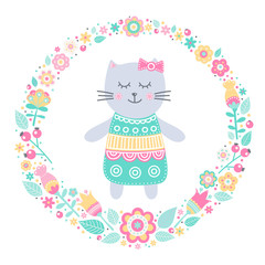 Cute cat. Vector card with hand drawn kitten girl in dress and floral wreath. Pastel colors - yellow, pink, white, green, grey. Illustration in flat style. Isolated. On white background.