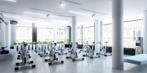 Ergometer im Fitness-Zentrum (panoramisch)