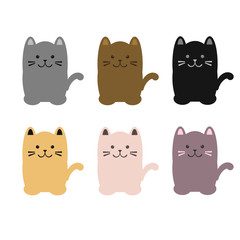 Set of colorful cats sitting. flat style Vector illustration.