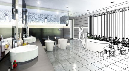 Luxurious Bathroom Furnishing (scetch)