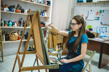 Artist painting a picture in a studio