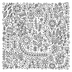 Coloring page for kids and adult. Vector outline illustration. Hand drawn floral pattern. Doodle flowers, leaves, berries. Anti stress coloring. Black and white colors.