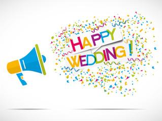 megaphone : happy wedding