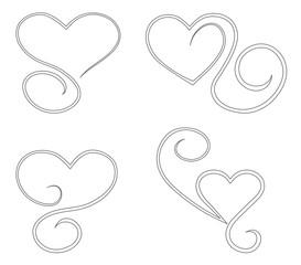 heart ornate icon set