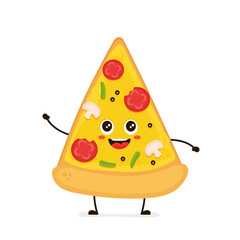 Cute smiling funny cute pizza slice.Vector