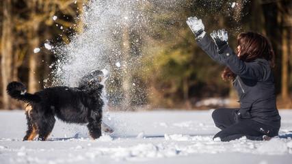 Mensch und Hund beim spielen