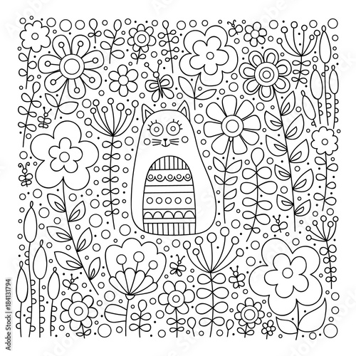 Cute cat in flowers. Hand drawn doodle card with kitten and ...