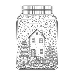 Christmas jar. Vector hand drawn jar with doodle winter elements. Winter objects - house, snowflakes, stars, tree, clouds. Anti stress coloring page for children and adults.