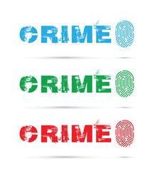 set of three crime prevention finger prints