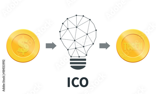 ICO  Initial coin offering concept  Token sale