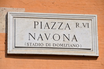 Street Plate: the famous Piazza Navona in Rome, Italy