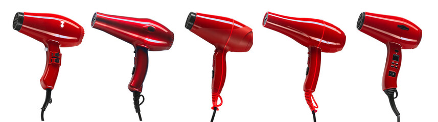 Set of five red hair dryers isolated on white background