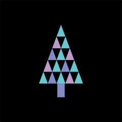 Silhouette icon of blue violet triangle Christmas tree, simple geometric vector design, symbol of fir-tree for illustration Christmas and New Year
