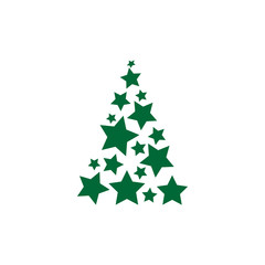 Silhouette icon of green star Christmas tree, simple geometric vector design, symbol of fir-tree for illustration Xmas and New Year