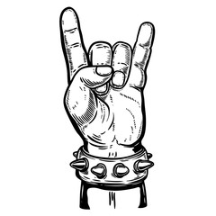Hand drawn human hand with rock and roll sign. Design element for poster, emblem, sign, t shirt. Vector illustration
