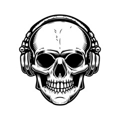 Skull with headphones Design element for poster, emblem, sign, t shirt. Vector illustration