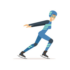 Girl athlete taking part in speed skating competition. Winter sport. Woman in professional outfit glasses, overalls, helmet and clap skate. Isolated flat vector