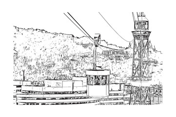 Sketch of cable car in Barcelona, Spain in vector illustration.