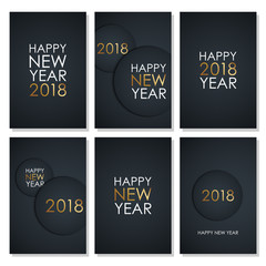 Set of 2018 Happy New Year celebrate flyers with golden colored elements and black background. Vector illustration.