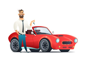 Concept buying or renting a new or used red and speedy sports car. Modern cartoon style vector illustration isolated on white background.