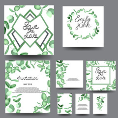 Floral pattern cards. Set - vector stock.