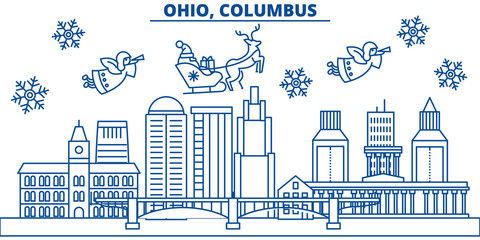USA, Ohio , Columbus  winter city skyline. Merry Christmas and Happy New Year decorated banner. Winter greeting card with snow and Santa Claus. Flat, line vector, linear christmas illustration