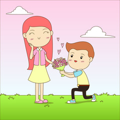 Cute couple love cartoon vector