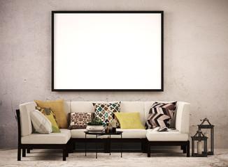 Großer Bilderrahmen im Wohnzimmer vor Fassade