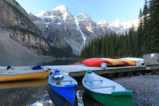 Canoes at Moraine Lake, Icefield Parkway, Canada