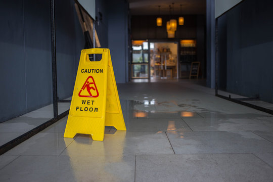 Wet floor caution sign.