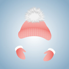 Knitted hat with pompon and gloves with fur.