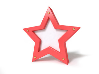 red star set on white background 3d rendering