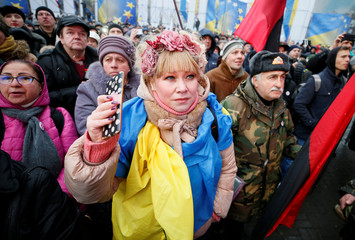 Supporters of former Georgian President Mikheil Saakashvili attend a rally in central Kiev