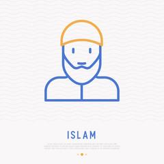 Bearded arabic man in muslim hat thin line icon. Modern vector illustration.