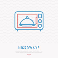 Microwave thin line icon. Modern vector illustration of household appliance.