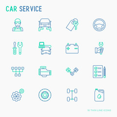 Car service thin line icons set of mechanic, computer diagnostics, tools, wheel, battery, transmission, jack. Modern vector illustration.