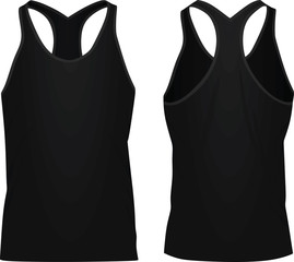 Black sleeveless t shirt. vector illustration