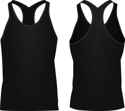 Black sleeveless t shirt. vector illustration