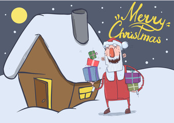 Christmas card with funny smiling Santa Claus. Santa carries gifts in colorful boxes by festive house in the snowy night. Horizontal vector illustration. Cartoon character with lettering.