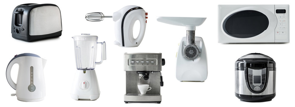 collage of different types of kitchen appliances isolated