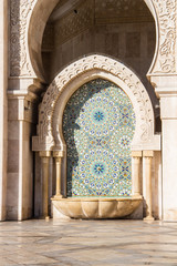 Fountain Hassan II Mosque the landmark in Casablanca