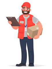 Smiling man courier with a parcel. Vector illustration in cartoon style