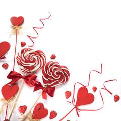Heart lollipops on white