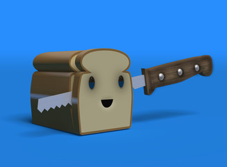 A happy bread character with knife in kawaii style. 3d Render illustration