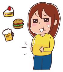 食べ過ぎで太った女性のイラス